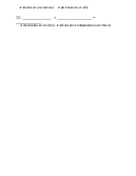 Beginner Spanish Math Worksheet / Number and Basic Vocabulary Review