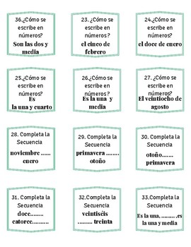 Beginner Spanish Números 1-30, hora, seasons, classroom items w/ answer key