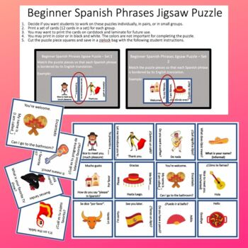 Beginner Spanish Phrases Jigsaw Puzzle Greetings Basic Questions Back to School