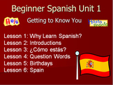 Beginner Spanish Unit 1: Introductions 46 Pages, Lessons, Notes, Handouts, PPTs