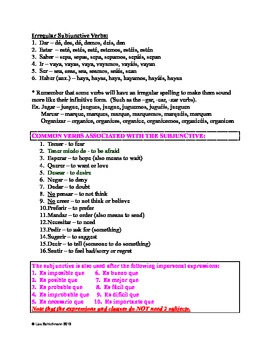 Complete Subjunctive Notes and Practice