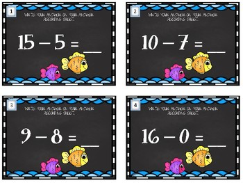 Beginner Subtraction Task Cards.  Using numbers up to 20.