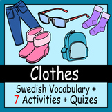 Beginner Swedish: Clothes - ☆no prep☆ printables, quizes, activities and more