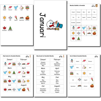 Beginner Swedish Days Months Holidays - no prep printables quizes activities