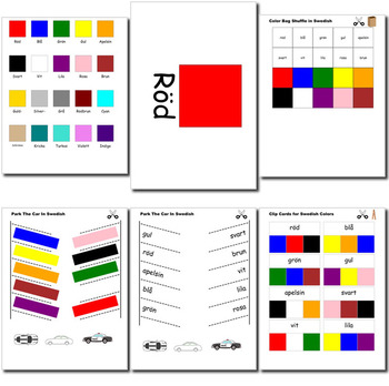 Beginner Swedish: colors - ☆no prep☆ printables, quizes, activities and more