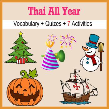 Beginner Thai Days Months Holidays - no prep printables quizes activities