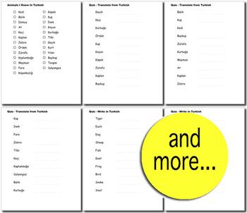 Beginner Turkish: Animals - ☆no prep☆ printables, quizes, activities and more