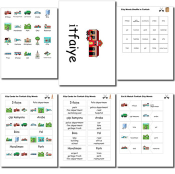Beginner Turkish: City Words ☆no prep☆ printables, quizes, activities and more