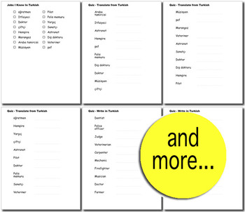 Beginner Turkish: Jobs - ☆no prep☆ printables, quizes, activities and more