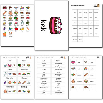 Beginner Turkish: food - ☆no prep☆ printables, quizes, activities and more