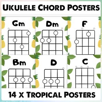 Beginner Ukulele Chord Chart Posters Chords First Ukulele Chords C,G,F,D,Em,Am