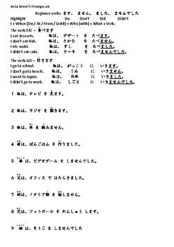 Beginner Verbs Part 1 - Present, Present Neg, Past, Past Neg
