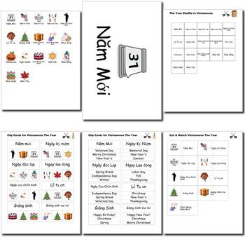 Beginner Vietnamese Days Months Holidays - no prep printables quizes activities