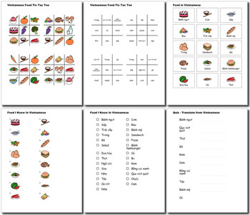 Beginner Vietnamese Food ☆no prep☆ printables, quizes, activities and more