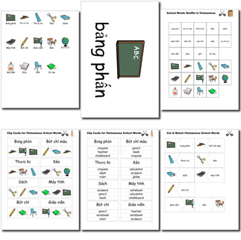 Beginner Vietnamese School Words prep printables, quizes, activities and more