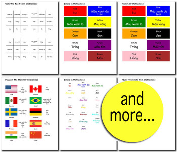 Beginner Vietnamese: colors - ☆no prep☆ printables, quizes, activities and more