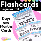 Beginner Week and Month Flashcards for ESL Students and Young Learners