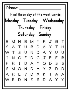 Resultado de imagen de days of the week word search
