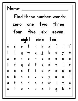 Word Searches for Beginners (Colors, Days of the Week, Numbers)