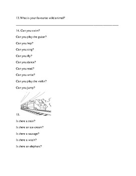 Beginner grammar and vocabulary test