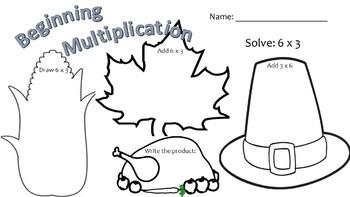 Beginner's Multiplication - Fall Holidays!