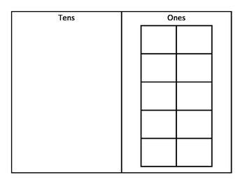 Beginner tens and ones work mat