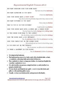 A0.11 - Vocabulary Household