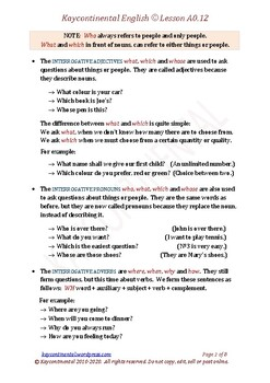 A0.12 - Interrogatives / Questions