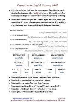 A0.07 - Vocabulary Family Members