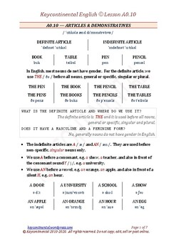 A0.10 - Articles & Demonstrative Adjectives
