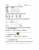 """Beginners Quiz- colors, numbers 1-10, conjugation """"avoir,"""