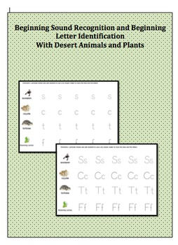 Beginning Sound Recognition & letter Identification w/ Desert Animals & Plants