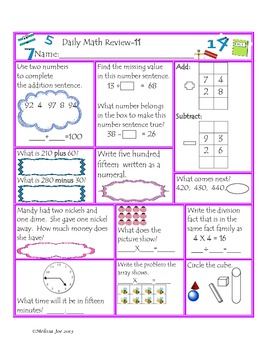 Daily Math Review-Beginning 3rd Grade Common Core Aligned