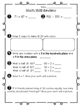 Beginning 4th Grade Math Review Sheet