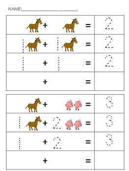 Beginning Addition (1's w/ sums under 10)