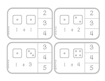 Beginning Addition Clip Cards - Adding with Dice