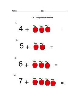 Beginning Addition: Counting on With Pictures (Lesson 1.1)