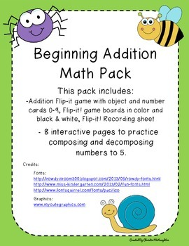 Beginning Addition and Subtraction Pack