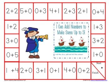 Beginning Addition--Sums to 5--3 Game  Fall Set
