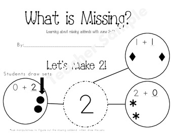Beginning Addition/Decomposing-What is the Missing Addend Student Book Sums 2-10