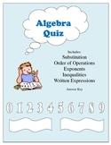 Beginning Algebra Quiz