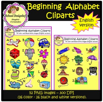 Beginning Alphabet Clip Art (School Design)