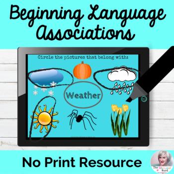 Beginning Associations Language Lesson NO PRINT Teletherapy