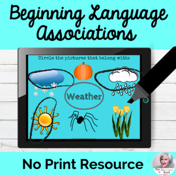 Beginning Associations Language Lesson NO PRINT Teletherapy