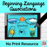Language Associations Activity No Print Speech Therapy