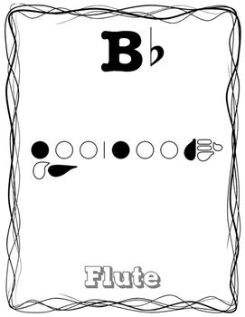 Beginning Band Bb Scale Fingering Posters - Full Page