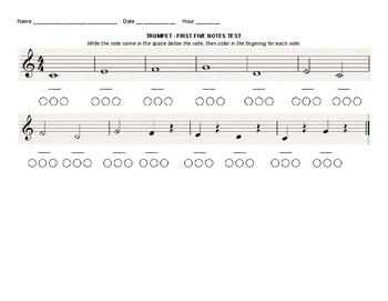 Beginning Band - Five First Note Test