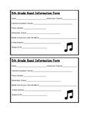 Beginning Band Information Form