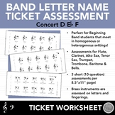 Beginning Band Letter Note Name Ticket Assessments - First 3 Notes: D, Eb, F