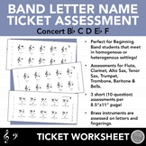 Beginning Band Letter Note Name Ticket Assessments - Concert Bb, First 5 Notes